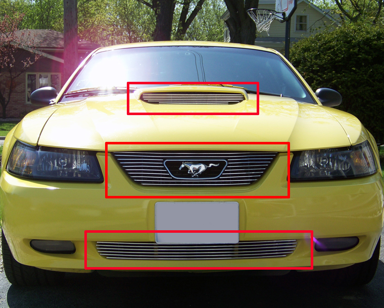 viogi Fits 1999-2004 Ford Mustang GT V8 Billet Grille Grill Combo ...
