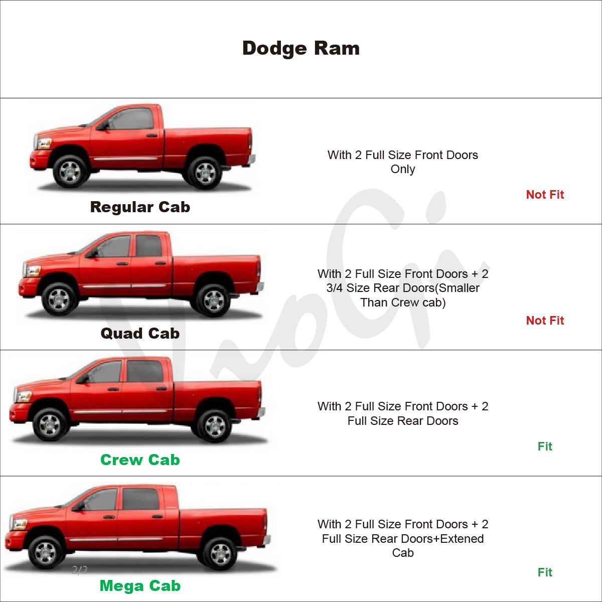 4pcs For 09-18 Ram 1500/2500/3500 Crew Mega Cab Guard Vent