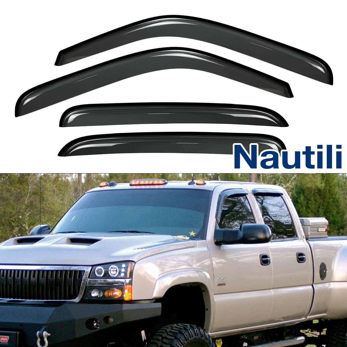 VioGi New 4pcs For 07-13 Chevy//GMC Crew Cab Pickup Dark Smoke Out-Channel//Outside Mount Style Wind Sun Rain Guard Vent Shade Deflector Window Visors