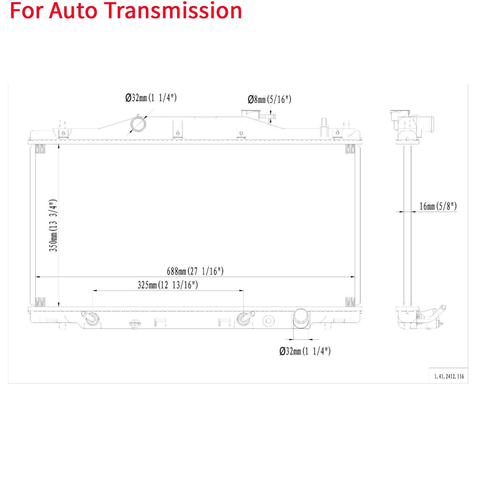 Automatic AT Aluminum/Plastic Radiator 1 Row For 2002-2006